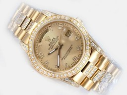 Falso Modern Rolex Day-Date automático completo Ouro Bezel Diamante com Golden Dial AAA Relógios [ T1R5 ]