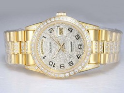 Falso Modern Rolex Day-Date Automatic Ouro completa com Diamond Bezel e Dial AAA Relógios [ N6H1 ]