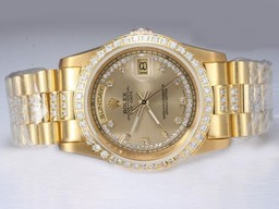 Falso Modern Rolex Day-Date Automatic Ouro completa com diamantes AAA Relógios [ M7G8 ]