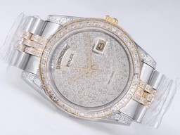 Falso Modern Rolex Day-Date Movimento Two Tone com diamante bisel AAA Watches [ B2S6 ]